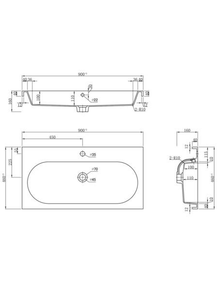 Waschtisch »KALI«, B x H x T: 91 x 85 x 47 cm